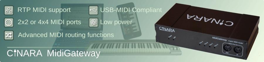 MidiGateway: Ethernet RTP MIDI interface